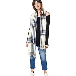 Miss Selfridge - Stone/navy/pink check scarf