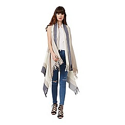 Miss Selfridge - Cream/blue sleevless cape