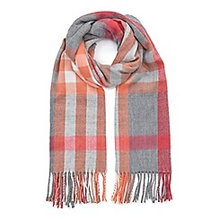 Miss Selfridge - Coral and grey check scarf