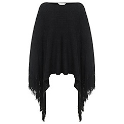 Miss Selfridge - Black fringed knitted poncho