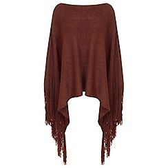 Miss Selfridge - Rust knitted fringed poncho