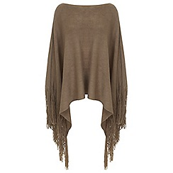 Miss Selfridge - Camel knitted fringed poncho