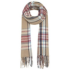 Miss Selfridge - Camel check fringe scarf