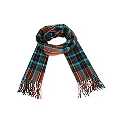 Miss Selfridge - Orange check fringed scarf