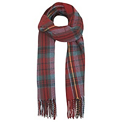 Miss Selfridge - Red check fringed scarf