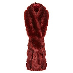 Miss Selfridge - Red faux fur stole scarf