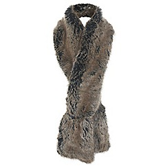 Miss Selfridge - Brown faux fur stole