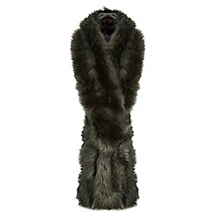 Miss Selfridge - Khaki faux fur stole scarf