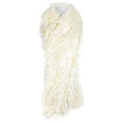 Miss Selfridge - White faux mongolian stole