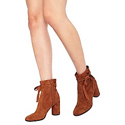 Miss Selfridge - Alixe suede wrap boot tan