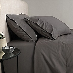 Sheridan - Dark grey 300 thread count percale fitted sheet