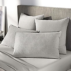 Sheridan - Light grey 'Broderie' pillow case pair
