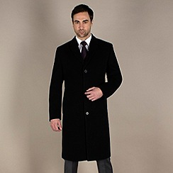Jeff Banks - Black plain long overcoat
