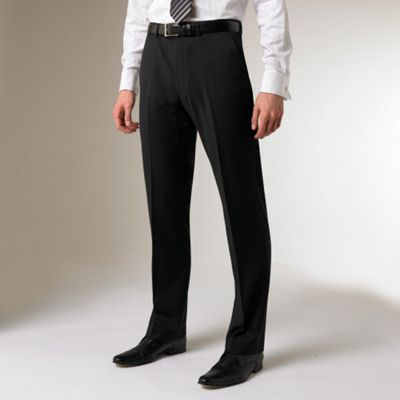 Black Stripe Machine Washable Flat-front Suit Trousers