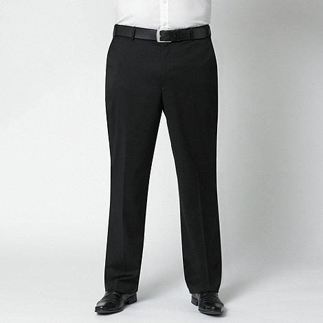 Centaur Big & Tall - Black plain flat front trouser