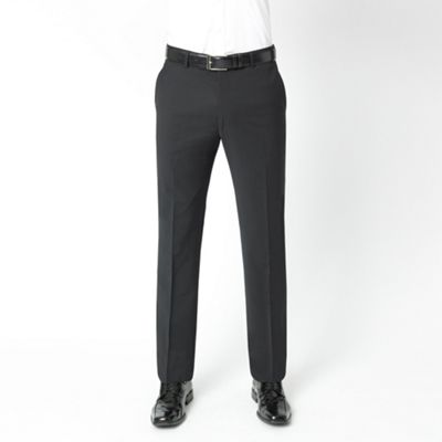 Black Stripe Performance Wool Blend Suit Trousers