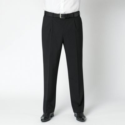 Black Stripe Machine Washable Suit Trousers