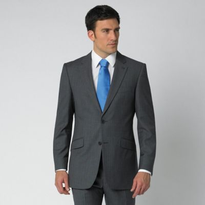 Grey Pick And Pick Stripe 2 Button Suit Jacket
