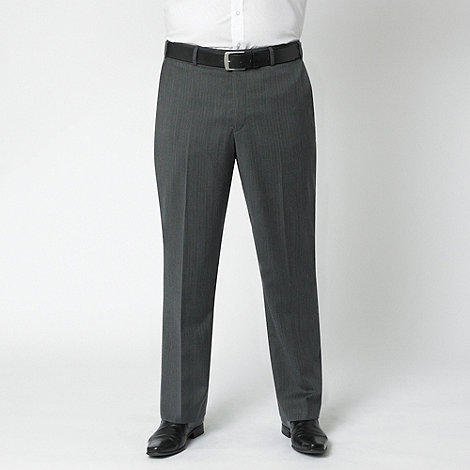 Centaur Big & Tall - Charcoal herringbone washable flat front suit trouser