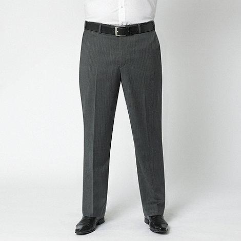 Centaur Big & Tall - Charcoal herringbone washable flat front suit trouser