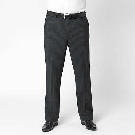 Centaur Big & Tall - Charcoal stripe washable flat front suit trouser