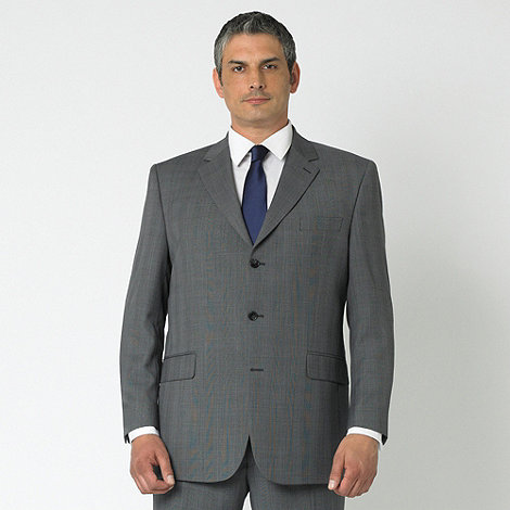 Centaur Big & Tall - Grey prince of wales check 3 button washable suit jacket