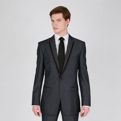 Mens Fashion Suits on Blue Tonic Fashion Suit Jacket With Black Satin Trim
