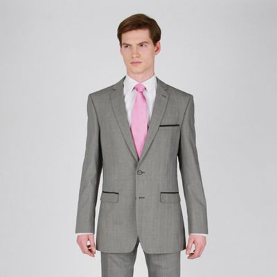 Mens Fashion Suits on Red Herring Silver Check Fashion Suit Jacket With Grey Satin Pocket