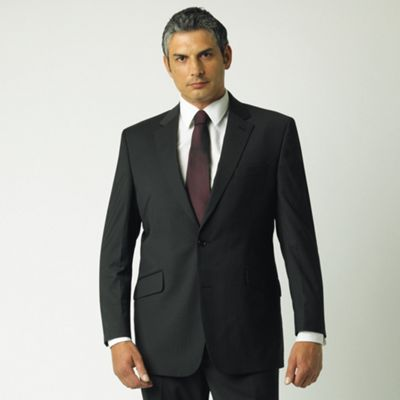 Black Fine Stripe 2 Button Suit Jacket