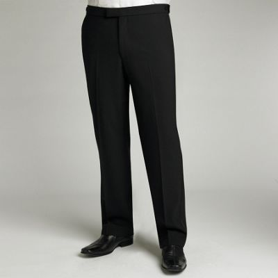 Black Plain Flat Front Dinner Suit Trouser