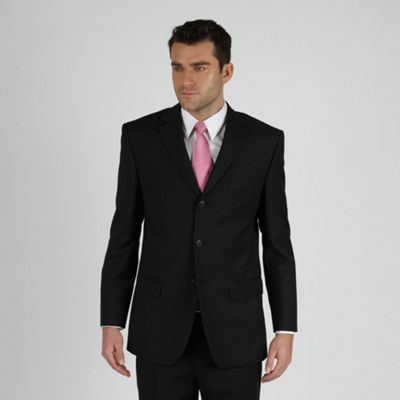 Black Fine Stripe Three Button Suit Jacket