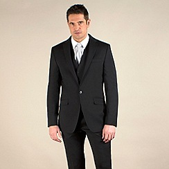 Stvdio by Jeff Banks - Black twill tailored fit 2 button suit