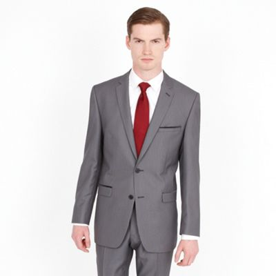 Grey Tweed Look 2 Button Fashion Suit Jacket