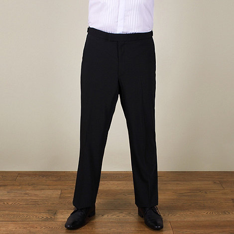 Centaur Big & Tall - Big & tall black plain weave regular fit dresswear trouser