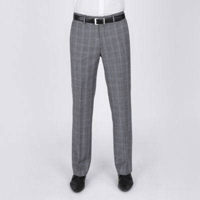 Grey Blue Multi Check Suit Trouser