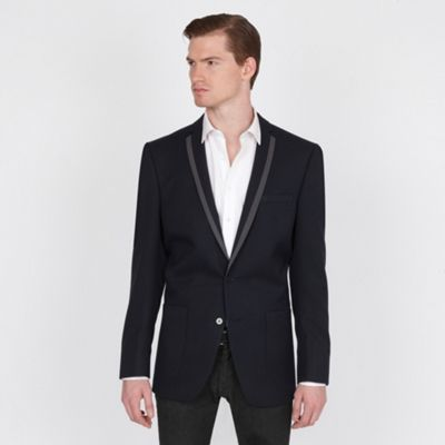 Navy Twill 2 Button Fashion Blazer
