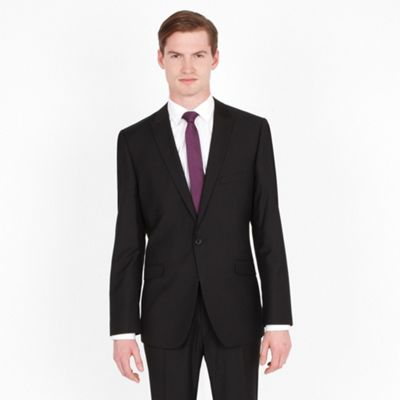 Black Plain 1 Button Fashion Suit Jacket