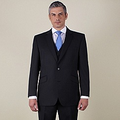 Centaur Big & Tall - Big & tall black narrow stripe regular fit 2 button suit