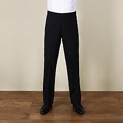 Karl Jackson - Black plain weave regular fit dresswear trouser