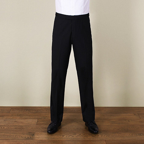 Karl Jackson - Black plain weave regular fit dresswear trouser