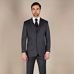 Karl Jackson - Charcoal herringbone regular fit 2 button suit