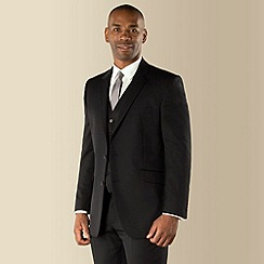 Centaur Big & Tall - Big & tall black twill regular fit 2 button 3 piece suit