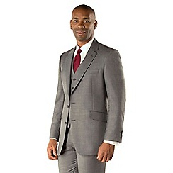 Centaur Big & Tall - Big & tall grey semi-plain regular fit 2 button suit