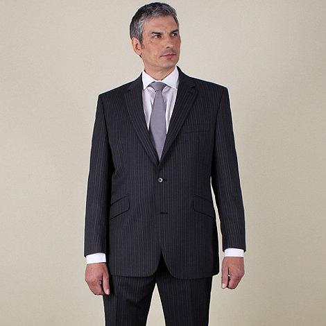 Centaur Big & Tall - Big & tall grey stripe regular fit 2 button jacket