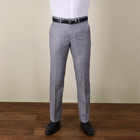 Jeff Banks - Grey twill regular fit 2 button trouser