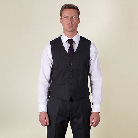Ben Sherman - Charcoal semi-plain slim fit waistcoat