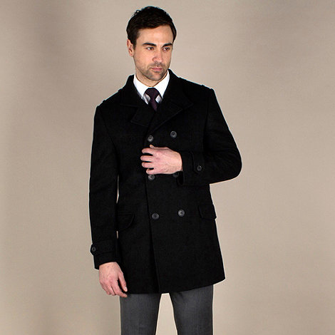 Karl Jackson - Black funnel neck double breasted overcoat