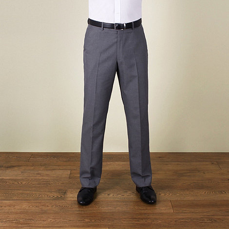 Karl Jackson - Grey plain weave regular fit trouser