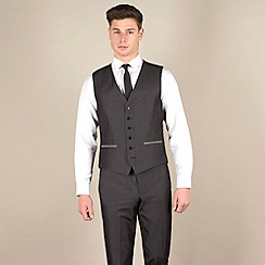 Red Herring - Charcoal fine stripe 6 button suit waistcoat