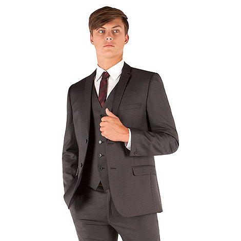 Red Herring - Charcoal twill slim fit 2 button jacket